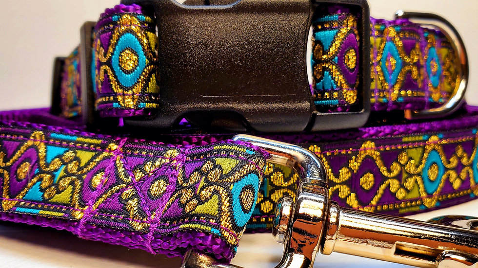 """1"""" Purple and Gold Dog Collar or Leash"""