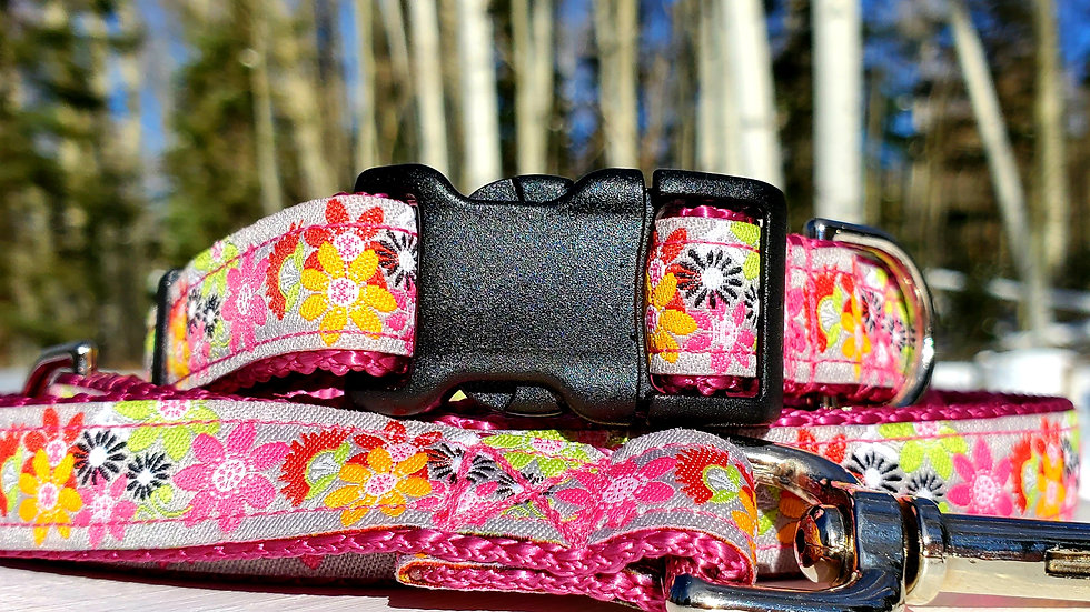 """3/4"""" Pink Floral Dog Collar, Leash, Martingale, Harness"""