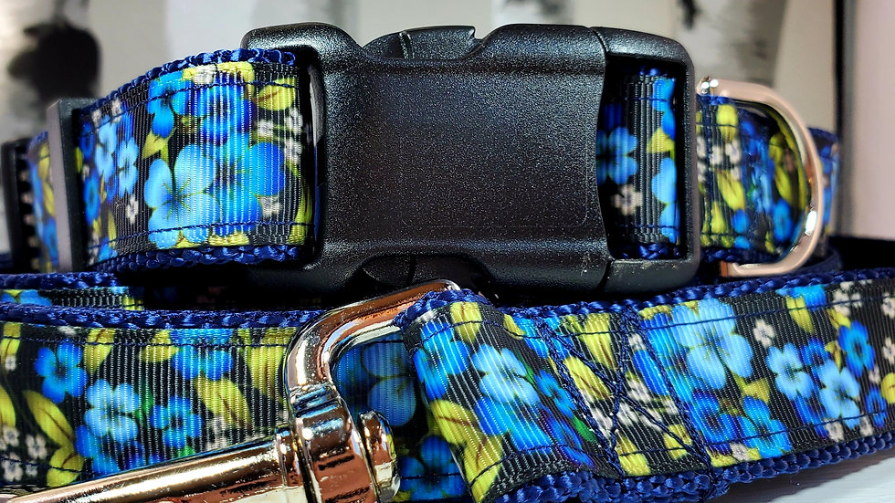 """1"""" Blue Floral Dog Collar, Martingale, Harness,  or Leash"""