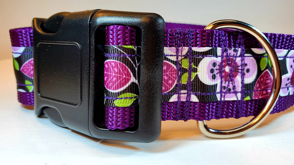 "1.5"" Purple Floral Dog Collar"
