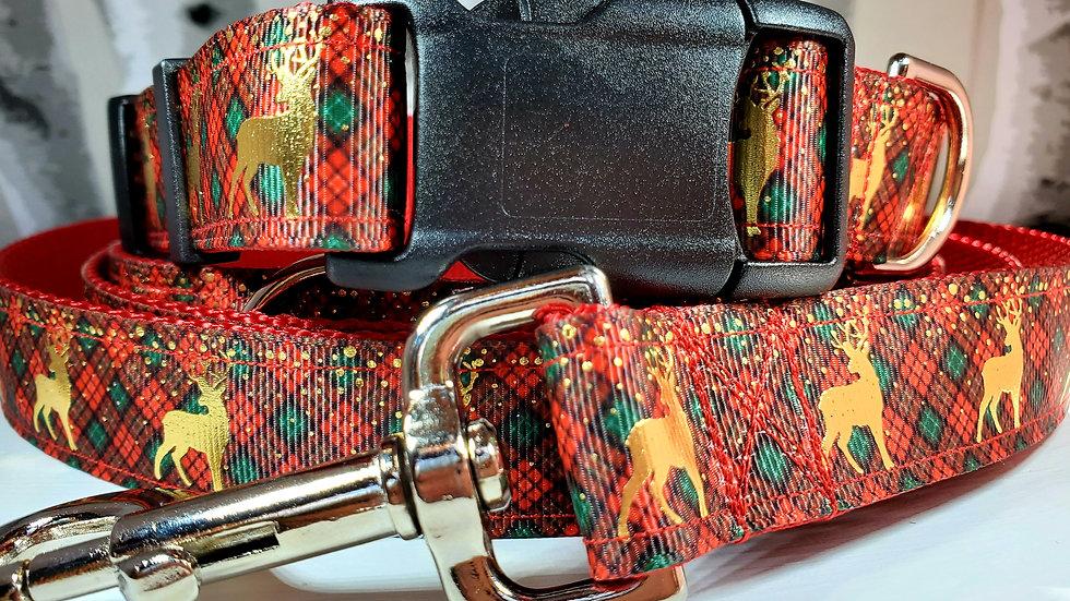 """1"""" Christmas Dog Collar, Leash, or Martingale"""
