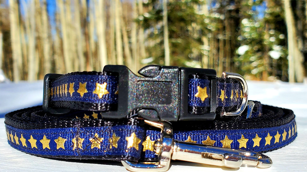 "1/2"" Blue Patriotic Star Dog Collar, Leash, or Harness"