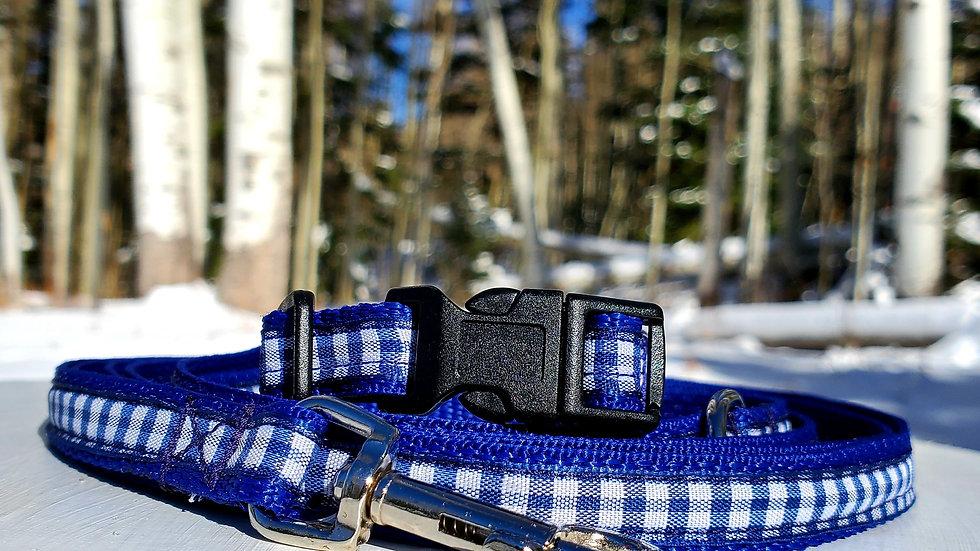 "1/2"" Blue Gingham Dog Collar, Leash, or Harness"