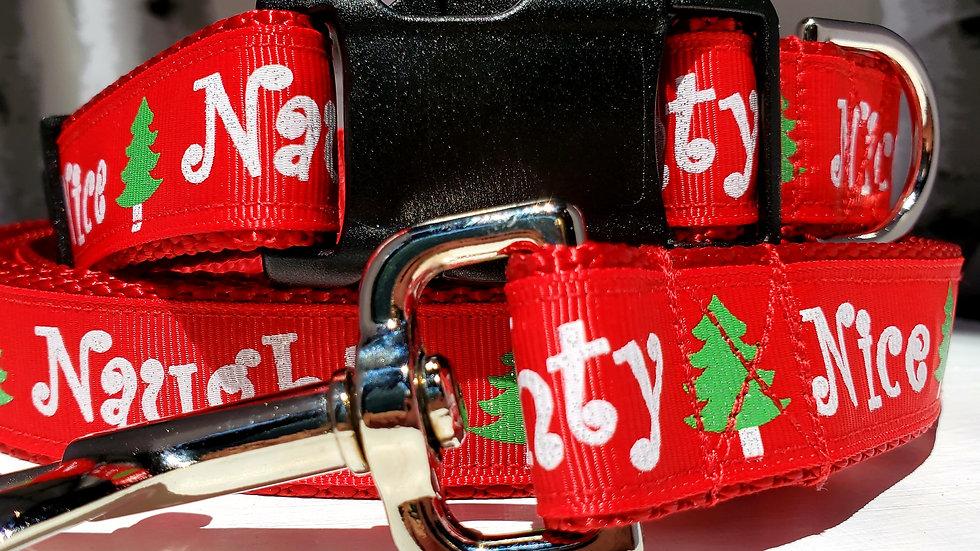 """1"""" Naughty Nice Christmas Dog Collar, Martingale, Harness, or Leash"""
