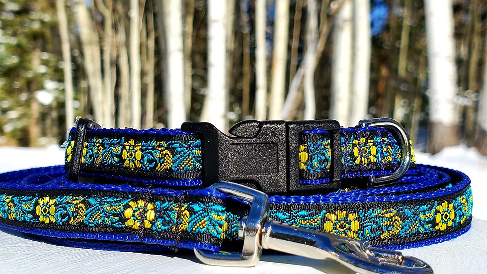 """1/2"""" Blue Floral Small Dog Collar, Leash, or Harness"""