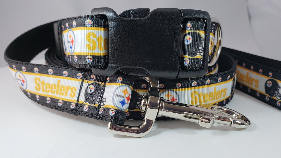 """1"""" Steelers Dog Collar, Martingale, Harness, or Leash"""