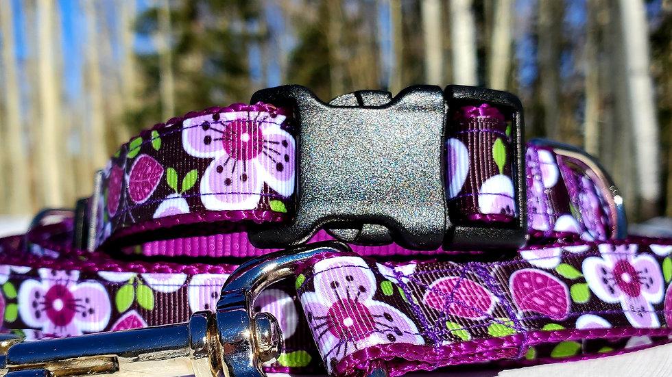 "3/4"" Purple Floral Dog Collar, Leash, Martingale, Harness"