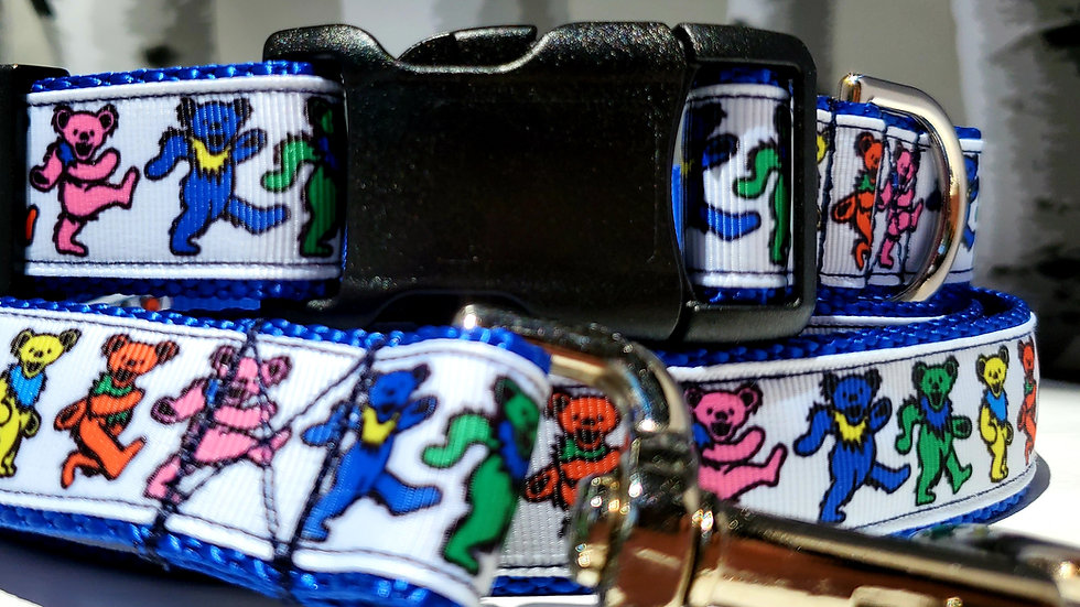 The Grateful Dead Dancing Bears Dog Collar, Martingale, Leash, or Harness