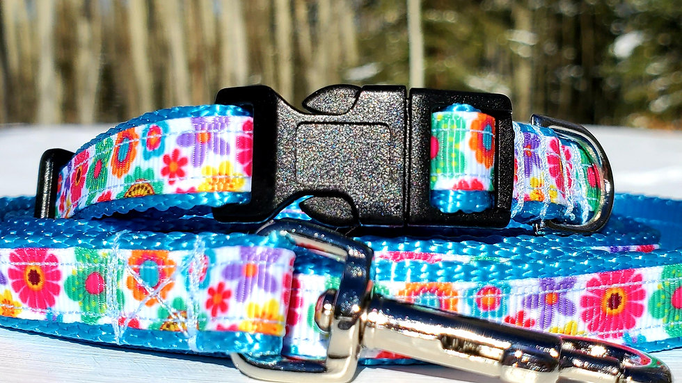 """1/2"""" Floral Dog Collar, Leash, or Harness"""