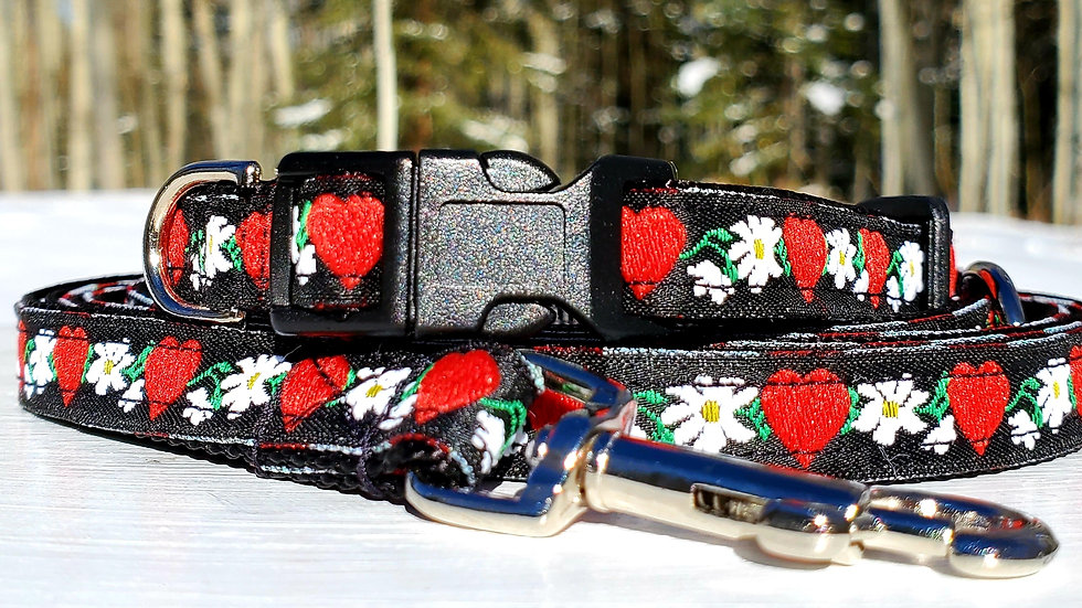 """1/2"""" Black and Red Heart Dog Collar, Leash, or Harness"""