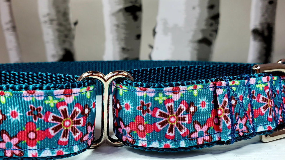 """1"""" Teal and Pink Floral Martingale Collar or Leash"""
