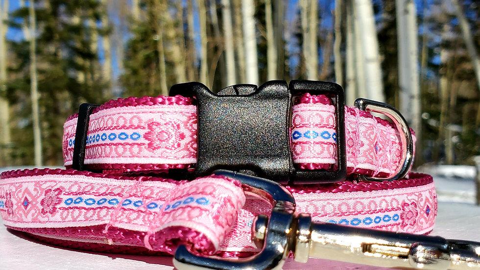 "3/4"" Pink Rose Dog Collar, Leash, Martingale, Harness"