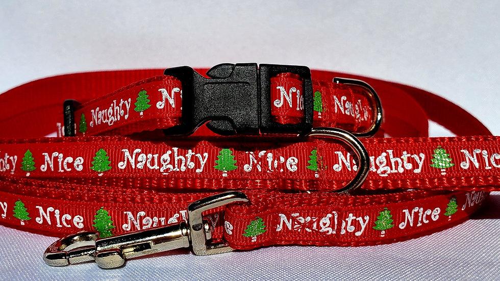 """1/2"""" Naughty Nice Christmas Collar, Leash, or Harness"""