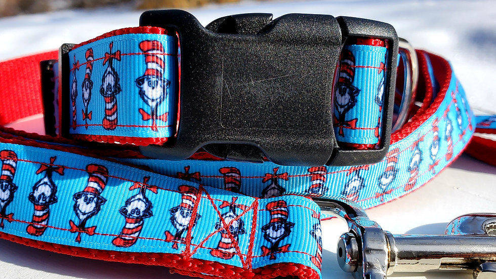 """1"""" Dr. Seuss Cat in The Hat Dog Collar, Martingale, Harness, or Leash"""