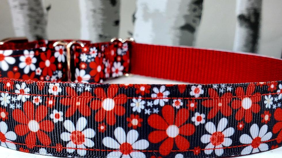 Red Flower Martingale Dog Collar-Red Floral Dog Leash