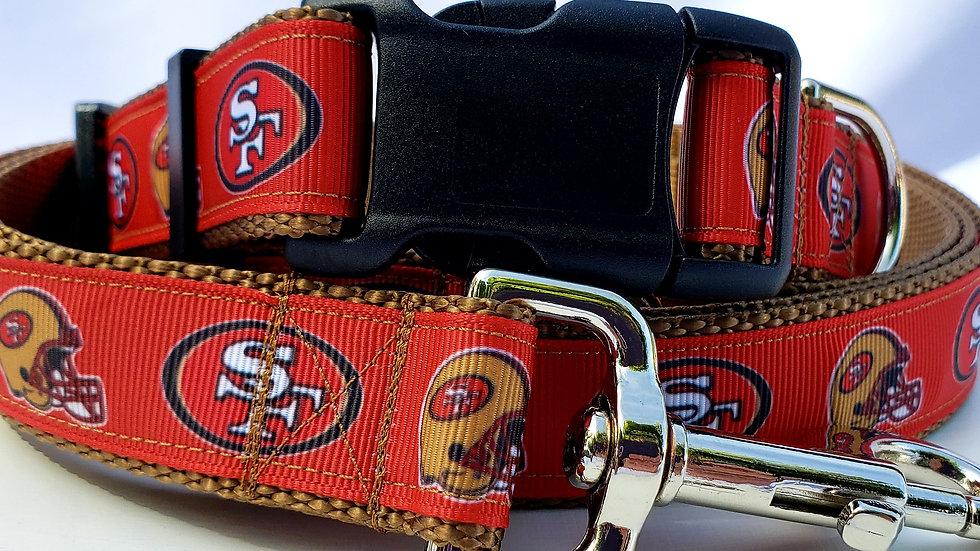 "1"" San Francisco 49ers Dog Collar, Martingale, Harness,  or Leash"