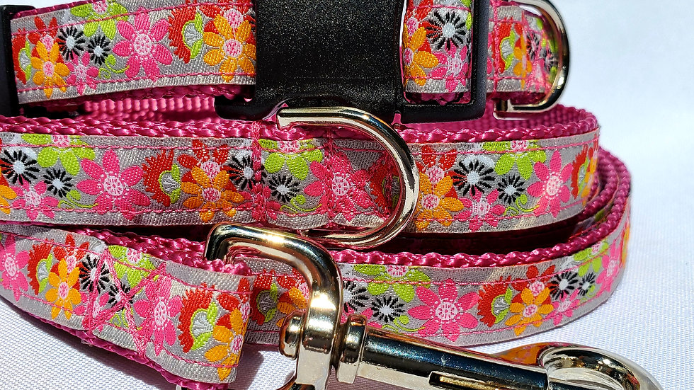 """1"""" Pink Floral Dog Collar, Martingale, Harness, or Leash"""