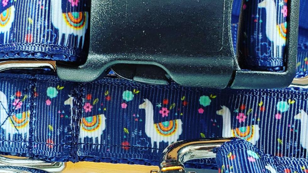 "1"" Blue Llama Dog Collar, Martingale, Harness,  or Leash"
