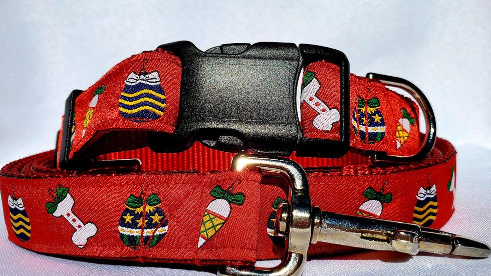 """1"""" Christmas Dog Collar, Martingale, Harness, or Leash"""
