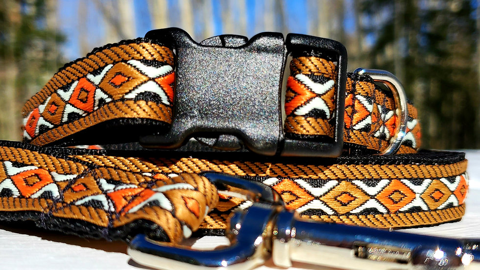 """3/4"""" Tan Southwest Dog Collar or Leash"""