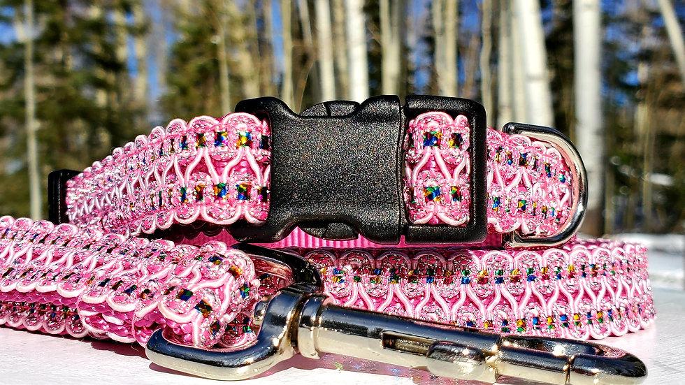 "3/4"" Pink Rhinestone Dog Collar or Leash"