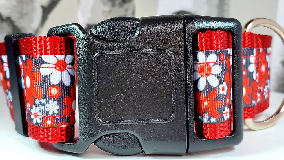 """1.5"""" Red Floral Dog Collar"""