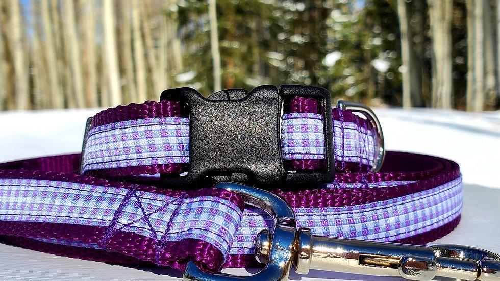 "3/4"" Purple Gingham Dog Collar, Leash, Martingale, Harness"