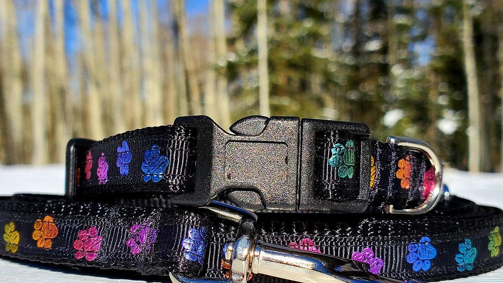 """1/2"""" Metallic Paw Print Dog Collar, Leash, or Harness"""