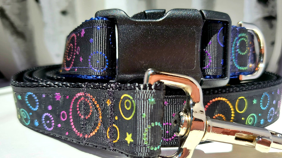 """1"""" Moon and Stars Celestial Dog Collar, Martingale, Harness,  or leash"""
