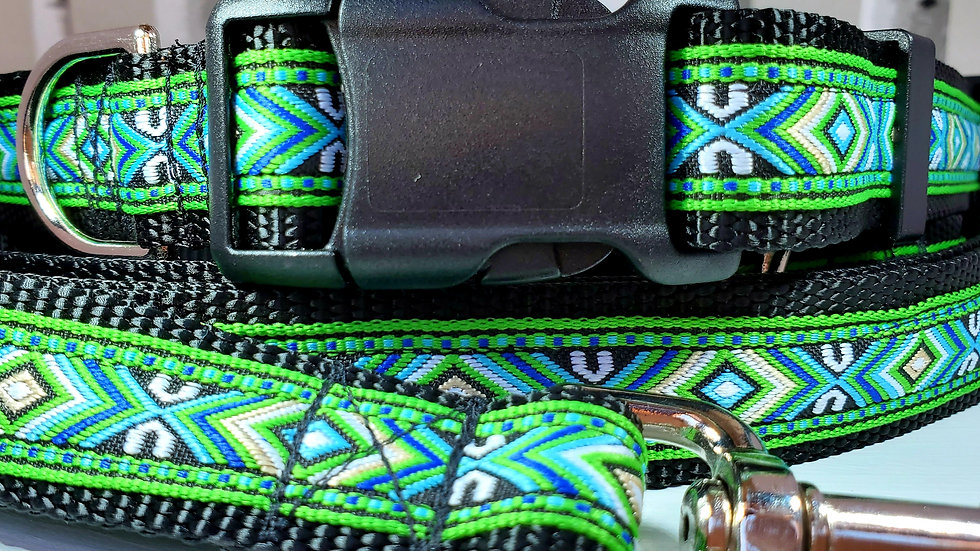 """1"""" Green Southwest Dog Collar, Martingale, Harness, or Leash"""