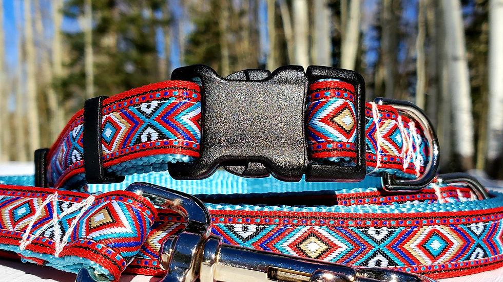 "3/4"" Ice Blue Southwest Dog Collar, Leash, Martingale, Harness"