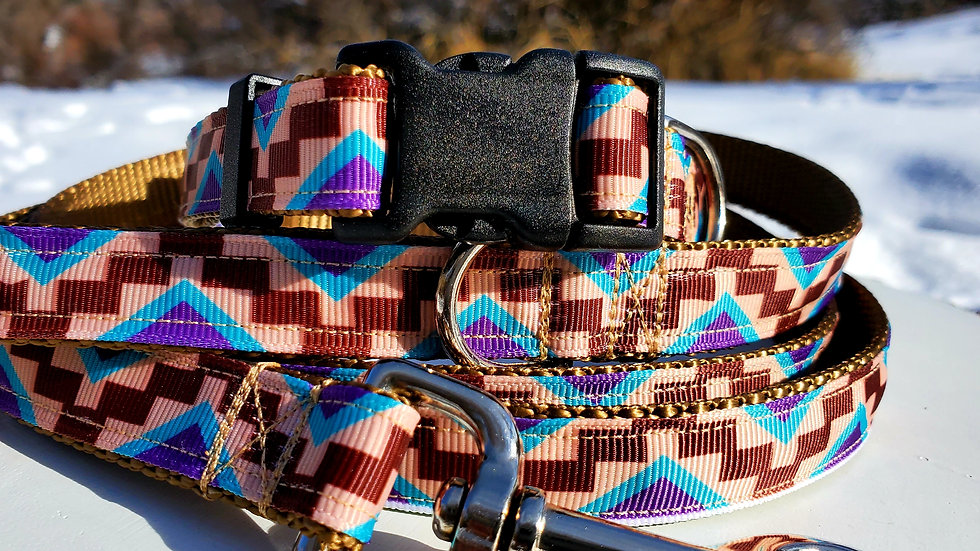 """1"""" Brown Aztec Dog Collar, Martingale, Harness,  or Leash"""