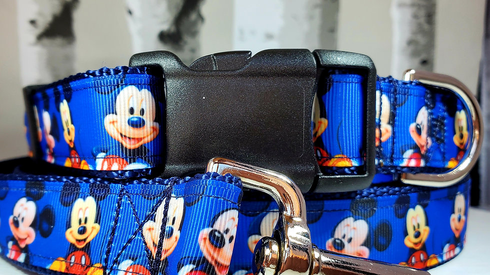 """1"""" Mickey Mouse Dog Collar, Martingale, Harness, or Leash"""