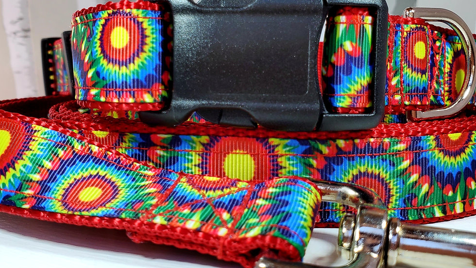 """1"""" Red Tie Dye Dog Collar, Martingale, Harness, or Leash"""