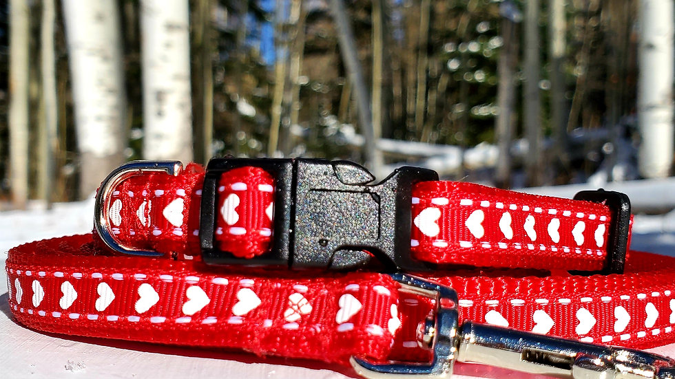 """1/2"""" Red Heart Dog Collar, Leash, or Harness"""