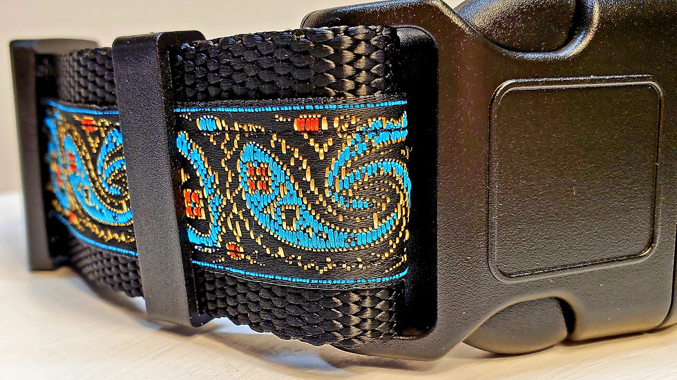 "1.5"" Aztec Blue Dog Collar"