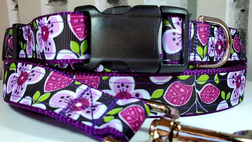 "1"" Purple Flower Dog Collar, Martingale, Harness,  or Leash"