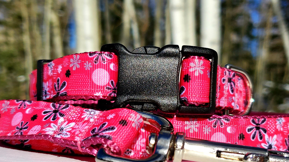 """3/4"""" Pretty in Pink Dog Collar, Leash, Martingale, Harness"""