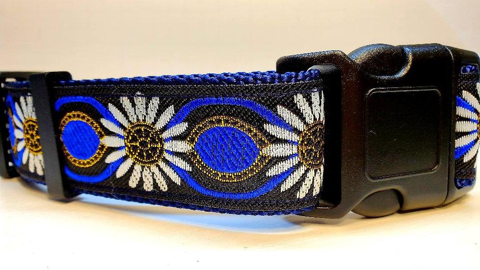 "1.5"" Blue Sunflower Dog Collar"