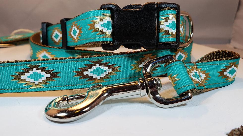 "3/4"" Teal Aztec Dog Collar or Leash"