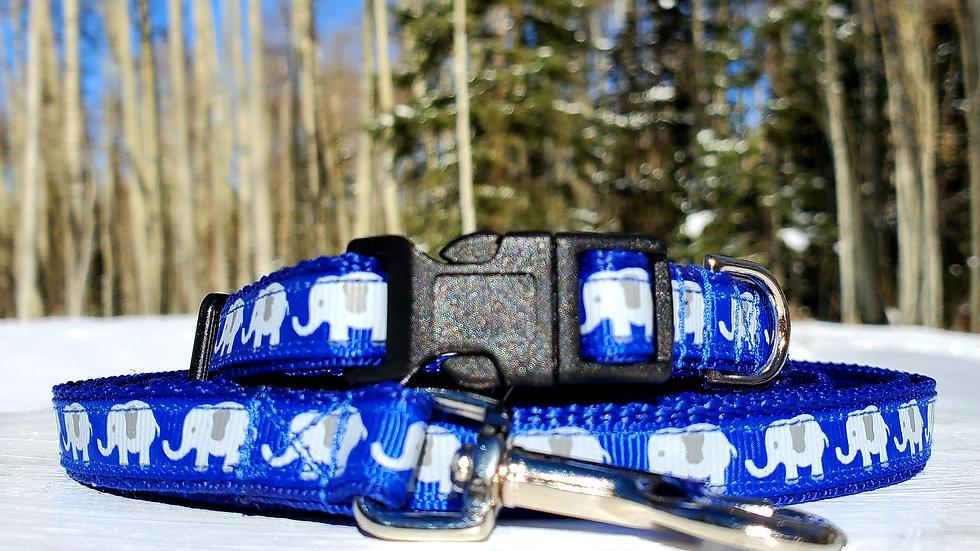 "1/2"" Blue Elephant Dog Collar, Leash, or Harness"