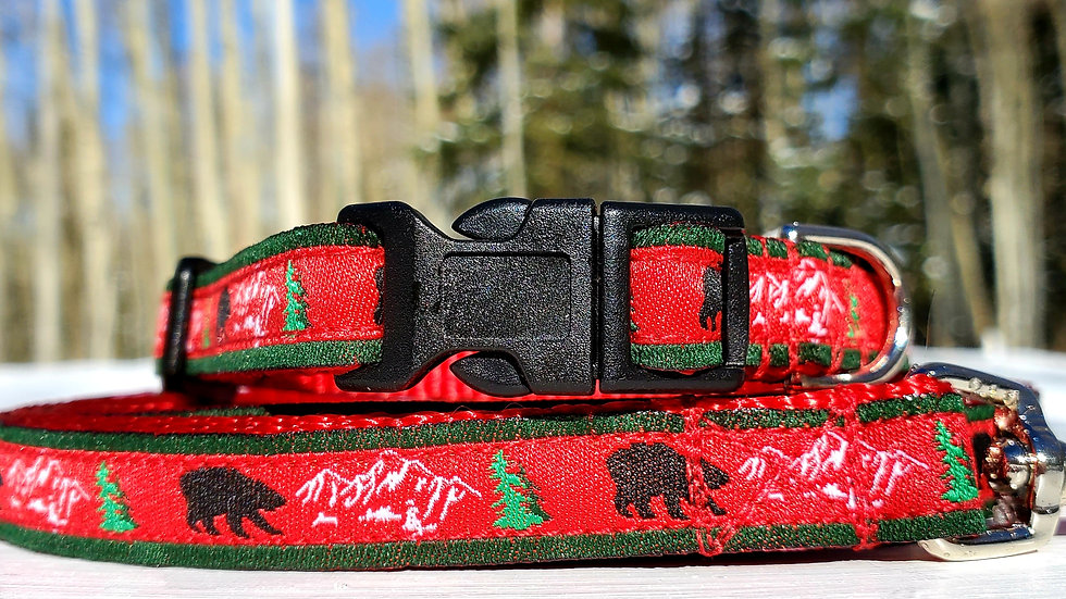 """1/2"""" Tree, Bear and Mountains Dog Collar, Leash, or Harness"""