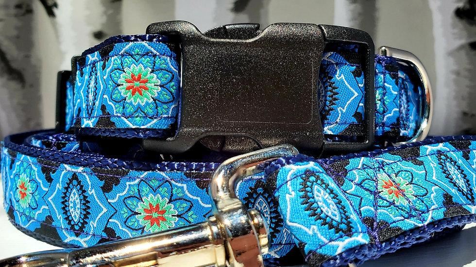 """1"""" Blue Southwest Dog Collar or Leash"""