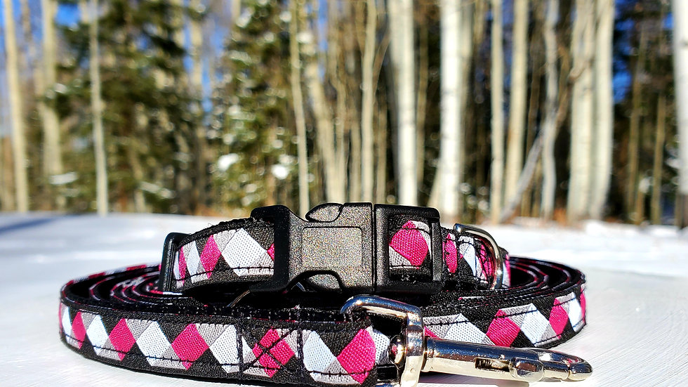 """1/2"""" Pink and Black Dog Collar, Leash, or Harness"""