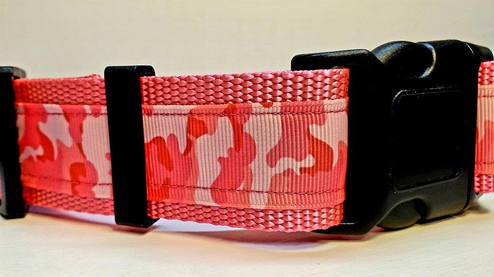 """1.5"""" Pink Camo Dog Collar"""