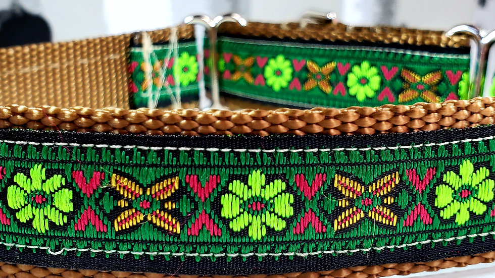"""1"""" Green Floral Martingale Dog Collar or Leash"""