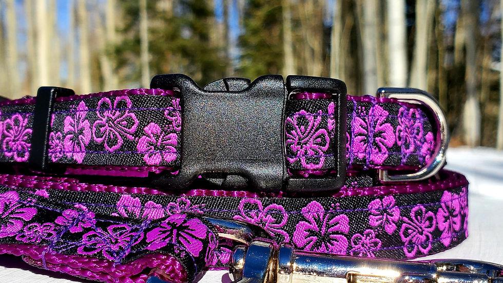 "3/4"" Purple Tropical Floral Dog Collar, Leash, Martingale, Harness"