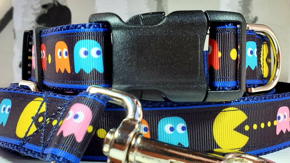 """1"""" Pac-Man Dog Collar, Martingale, Harness, or Leash"""
