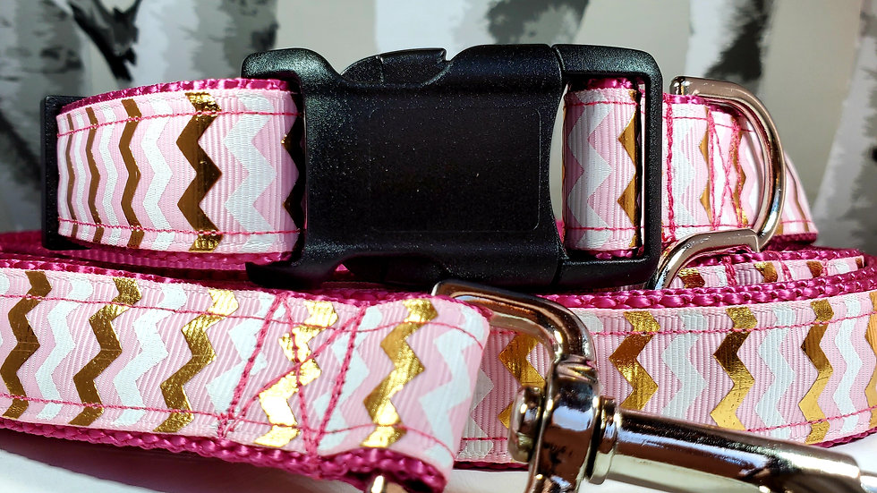 """1"""" Pink and Gold Dog Collar, Leash, Harness, or Martingale"""
