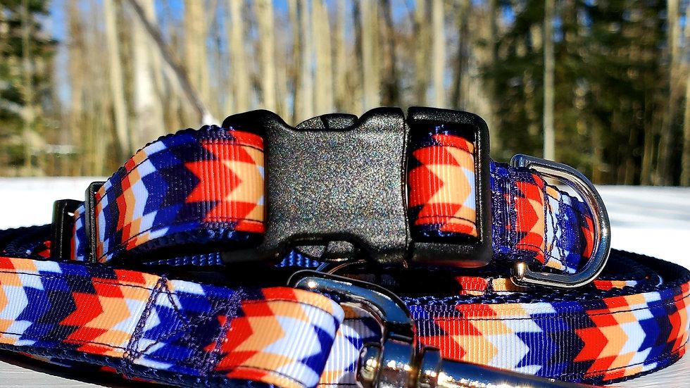 "3/4"" Blue Aztec Dog Collar, Leash, Martingale, Harness"
